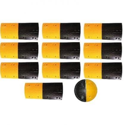10m Rubber Traffic Speed Breaker Bump Hump with End Caps By Hiphen Solutions Services Ltd.