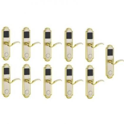 Door Lock With RFID Card Access Control - Golden Edge - 11 Sets  Door Lock With RFID Card Access Control - Golden Edge - 11 Sets