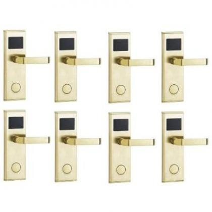 Door Lock With RFID Card Access Control - Gold - 8 Set By Hiphen Solutions Services Ltd.