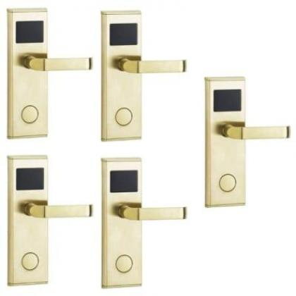 Door Lock With RFID Card Access Control - Gold - 5 Set By Hiphen Solutions Services Ltd.