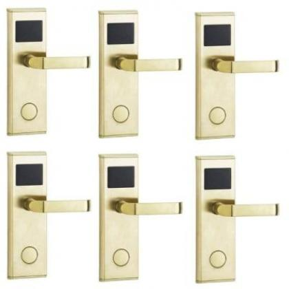 Door Lock With RFID Card Access Control - Gold - 6 Set By Hiphen Solutions Services Ltd.