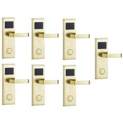 Door Lock With RFID Card Access Control - Gold - 7 Set By Hiphen Solutions Services Ltd.