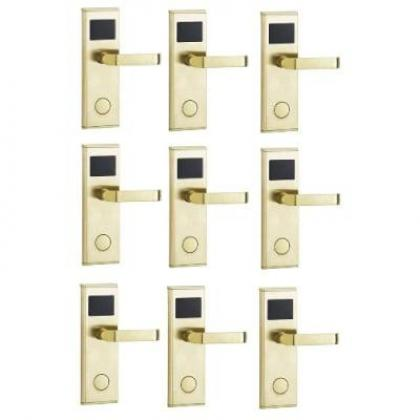 Door Lock With RFID Card Access Control - Gold - 9 Set By Hiphen Solutions Services Ltd.