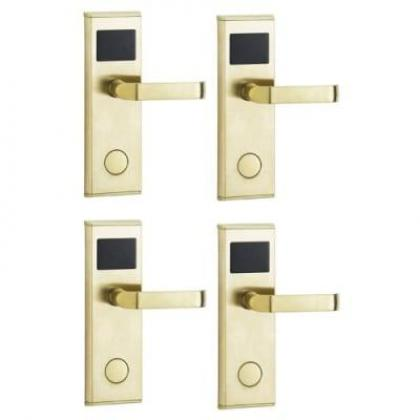 Hotel Door Lock With RFID Card Access Control - Gold - 4 Set By Hiphen Solutions Services Ltd.