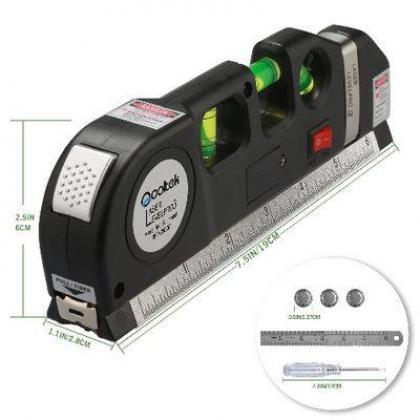 Multipurpose Laser Level Laser Measure Line 8ft+ Measure Tape Ruler Adjusted Standard By Hiphen Solutions Services Ltd