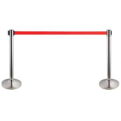 Retractable Belt Stanchion Crowd Queue Control Barrier Post - 2 Poles + 1 Rope By Hiphen Solutions Services Ltd.