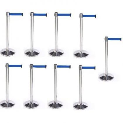 Retractable Belt Stanchion Crowd Queue Control Barrier Post - 9 Poles + 9 Ropes By Hiphen Solutions Services Ltd.