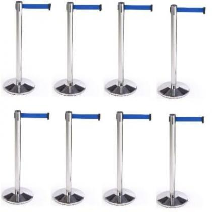 Retractable Belt Stanchion Crowd Queue Control Barrier Post - 8 Poles + 8 Ropes By Hiphen Solutions Services Ltd.