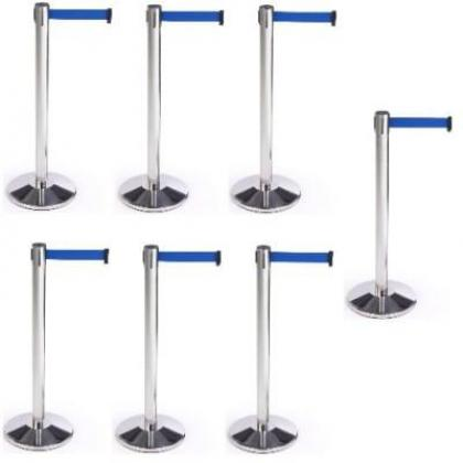 Retractable Belt Stanchion Crowd Queue Control Barrier Post - 7 Poles + 7 Ropes By Hiphen Solutions Services Ltd.