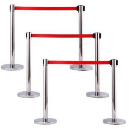 Retractable Belt Stanchion Crowd Queue Control Barrier Post - 6 Poles + 3 Ropes By Hiphen Solutions Services Ltd.
