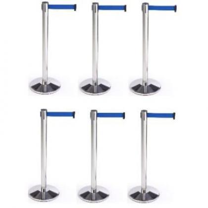 Retractable Belt Stanchion Crowd Queue Control Barrier Post - 6 Poles + 6 Ropes By Hiphen Solutions Services Ltd.