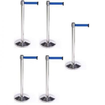 Retractable Belt Stanchion Crowd Queue Control Barrier Post - 5 Poles + 5 Ropes By Hiphen Solutions Services Ltd.