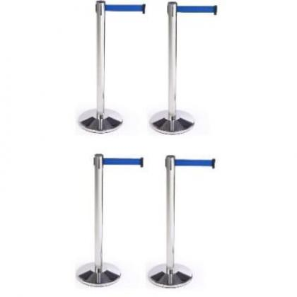 Retractable Belt Stanchion Crowd Queue Control Barrier Post - 4 Poles + 4 Ropes By Hiphen Solutions Services Ltd.