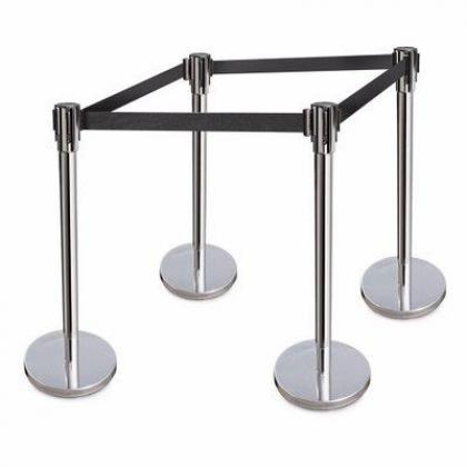 Retractable Belt Stanchions Stainless Steel 36 Inch Height Crowd Control Barrier -By Hiphen Solutions Services Ltd. 4 Pieces