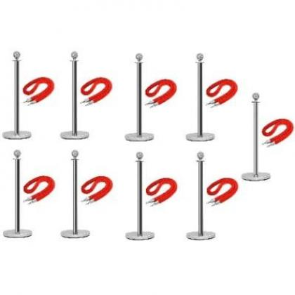 Rope Type Stanchion Crowd Queue Control Barrier Post - 9 Poles + 9 Ropes By Hiphen Solutions Services Ltd.