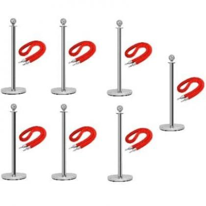 Rope Type Stanchion Crowd Queue Control Barrier Post - 7 Poles + 7 Ropes By Hiphen Solutions Services Ltd.