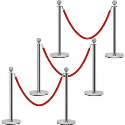Rope Type Stanchion Crowd Queue Control Barrier Post - 6 Poles + 3 Ropes By Hiphen Solutions Services Ltd.