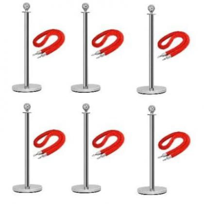 Rope Type Stanchion Crowd Queue Control Barrier Post - 6 Poles + 6 Ropes By Hiphen Solutions Services Ltd.