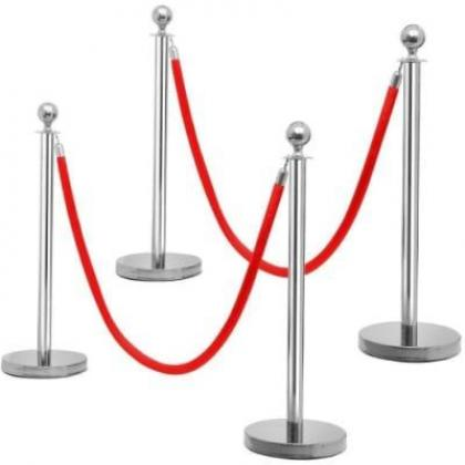 Rope Type Stanchion Crowd Queue Control Barrier Post - 4 Poles + 2 Ropes by Hiphen Solutions Services Ltd