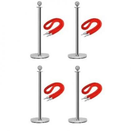 Rope Type Stanchion Crowd Queue Control Barrier Post - 4 Poles + 4 Ropes by Hiphen Solutions Services Ltd