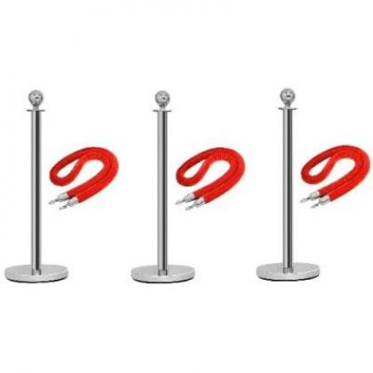 Rope Type Stanchion Crowd Queue Control Barrier Post - 3 Poles + 3 Ropes By Hiphen Solutions Services Ltd.