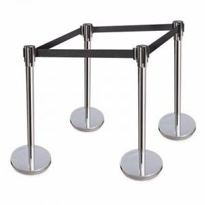 Retractable Belt Stanchions Stainless Steel 36 Inch Height Crowd Control Barrier -By Hiphen Solution