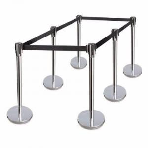 Retractable Belt Stanchions Stainless Steel 36 Inch Height Crowd Control Barrier - 6 Pieces By Hiphe