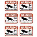 Set of 6 Professional Popular Video Surveillance Stickers Sign By Hiphen Solutions Services Ltd.