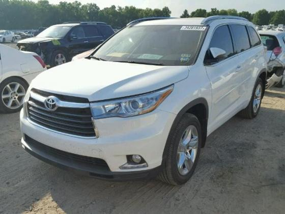 2015 TOYOTA HIGHLANDER LIMITED PURE WHITE WITH GOOD INTERIORS 07089208062